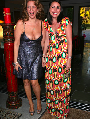 Joely Fisher pictured here showing some pretty big cleavage. The girls got some big boobs and shes not afraid to show them off.